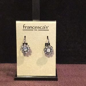 White and diamond looking earrings.